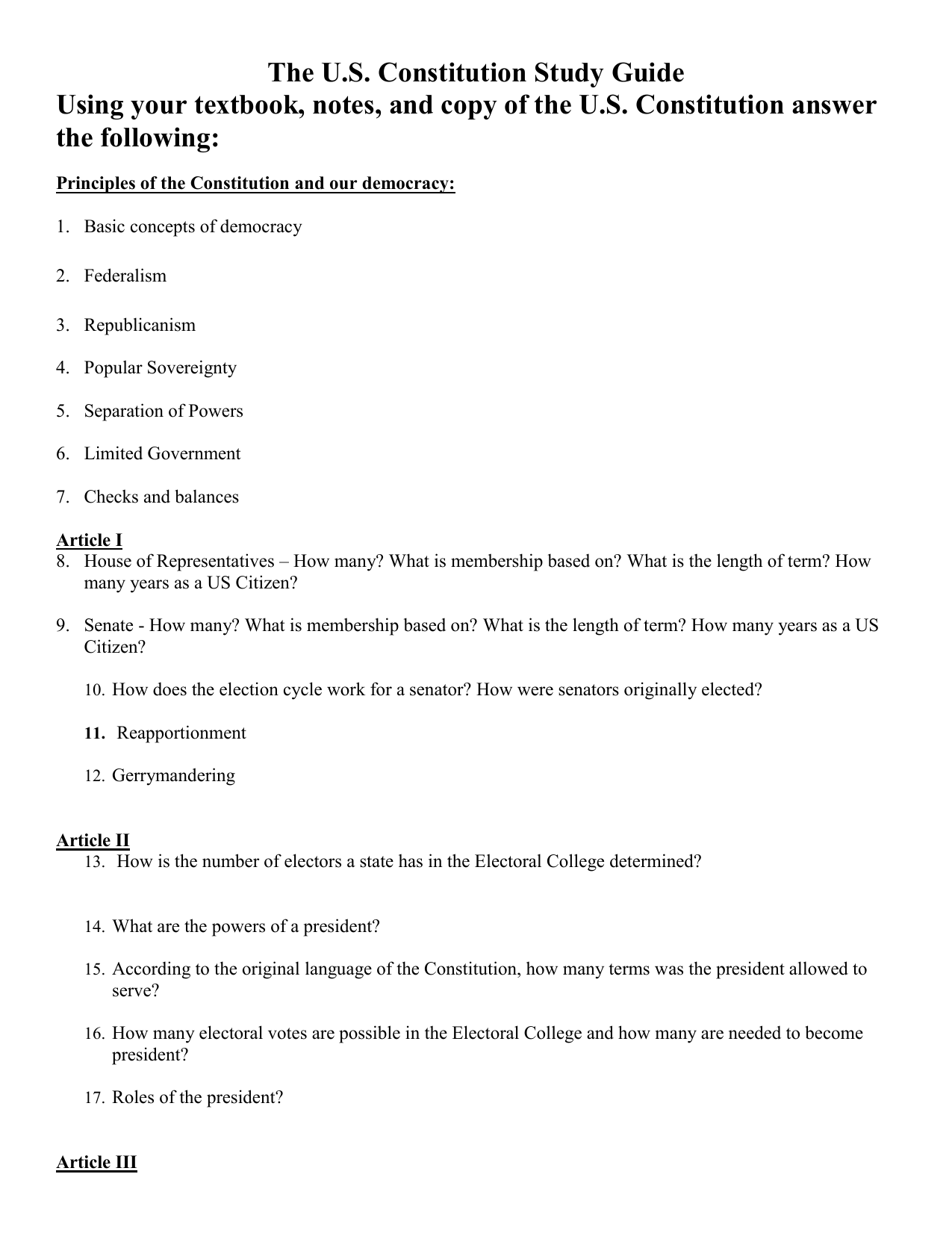 The U S  Constitution Study Guide