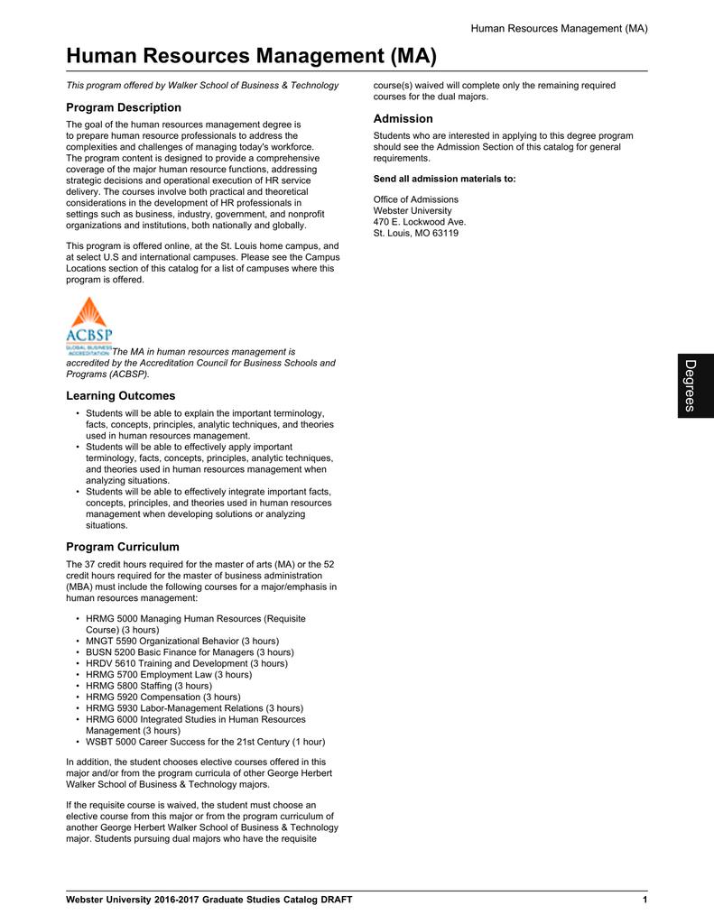 Human Resources Management Ma Program Description Admission