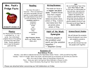 Mrs. Pack's Fridge Facts Reading: