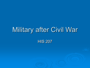 Military after Civil War HIS 207