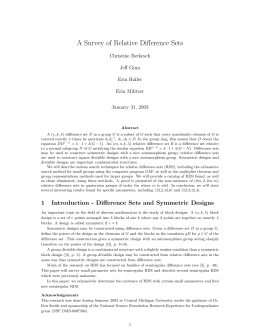 A Survey of Relative Difference Sets Christine Berkesch Jeff Ginn Erin Haller