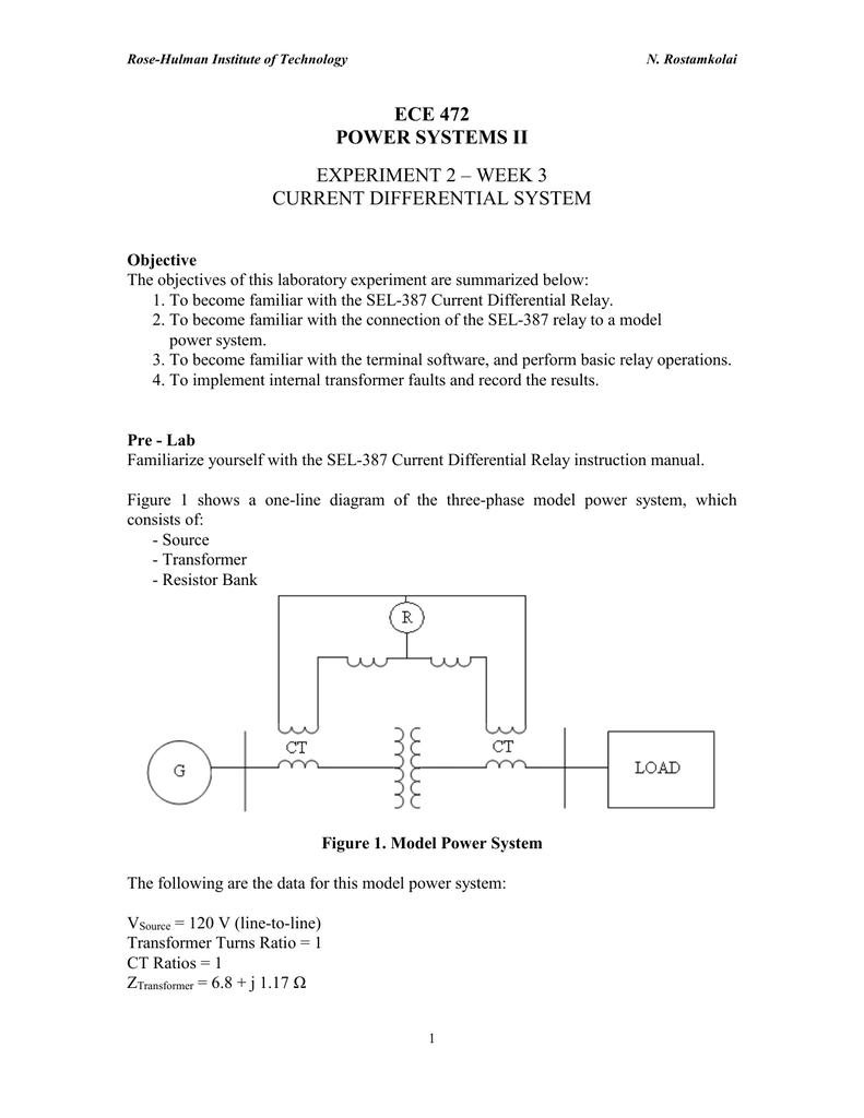 ECE 472 POWER SYSTEMS II EXPERIMENT 2 – WEEK 3 CURRENT