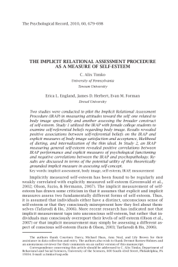 THE IMPLICIT RELATIONAL ASSESSMENT PROCEDURE AS A MEASURE OF SELF-ESTEEM