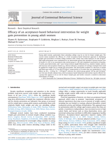 ficacy of an acceptance-based behavioral intervention for weight Ef