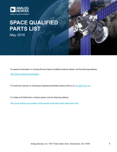 SPACE QUALIFIED PARTS LIST May 2016