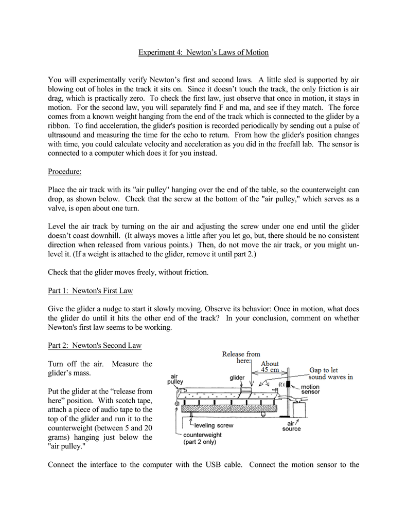 Experiment 4: Newton's Laws of Motion