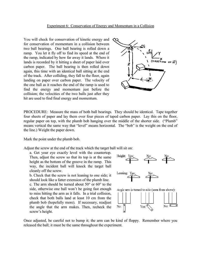 Experiment 6: Conservation of Energy and Momentum in a