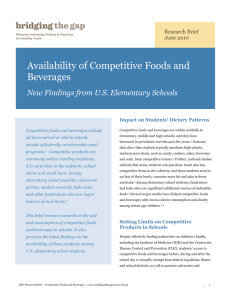 Availability of Competitive Foods and Beverages New Findings from U.S. Elementary Schools