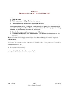 """ELEVEN"" READING AND WRITING ASSIGNMENT"