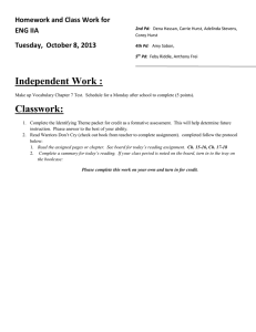 Independent Work : Homework and Class Work for ENG IIA