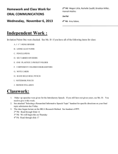 Independent Work : Homework and Class Work for ORAL COMMUNICATIONS