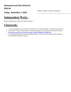 Independent Work : Classwork: Homework and Class Work for ENG IIA