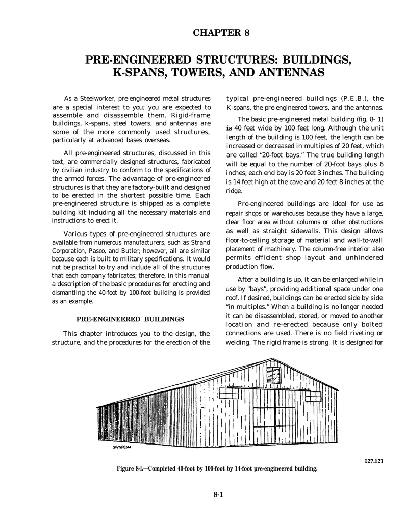 PRE-ENGINEERED STRUCTURES: BUILDINGS, K-SPANS, TOWERS, AND ANTENNAS ...