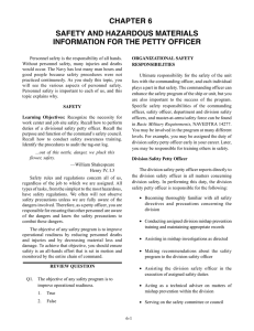 CHAPTER 6 SAFETY AND HAZARDOUS MATERIALS INFORMATION FOR THE PETTY OFFICER