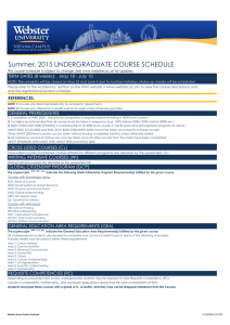 Summer, 2015 UNDERGRADUATE COURSE SCHEDULE
