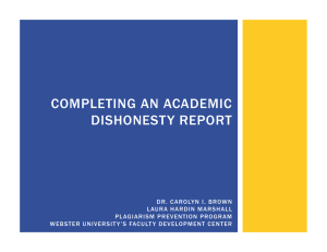 COMPLETING AN ACADEMIC DISHONESTY REPORT