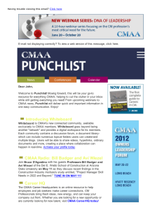 E-mail not displaying correctly? To view a web version of... Punchlist resource for everything CMAA; helping to cut the clutter in... Dear John,