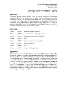 Colloquium on Student Teams