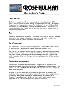 Cardholder's Guide Using the Card