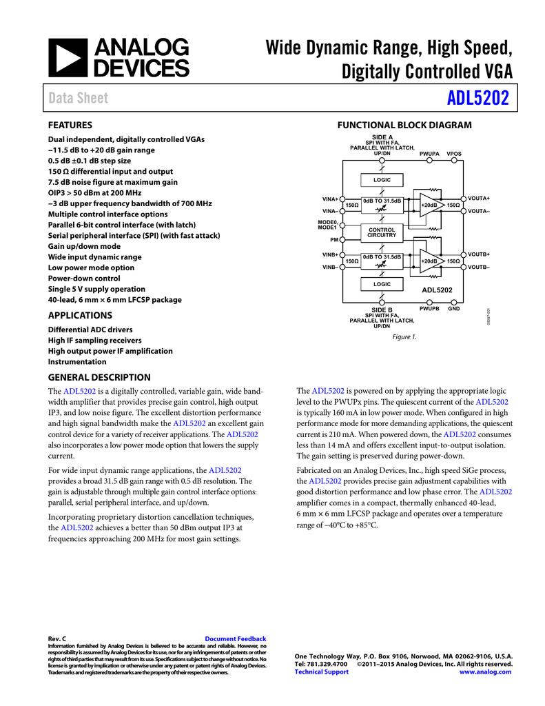 Wide Dynamic Range, High Speed, Digitally Controlled VGA