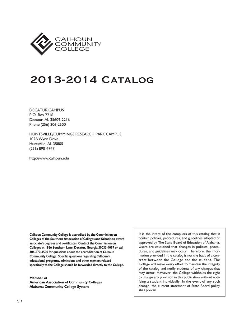 2013-2014 Catalog CALHOUN COMMUNITY COLLEGE
