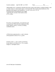 Coriolis worksheet April 28, 2005   rev 5/5/05