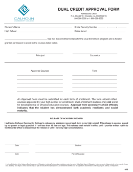 DUAL CREDIT APPROVAL FORM