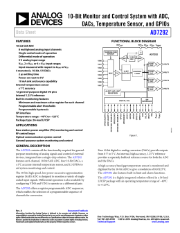 AD7292 10-Bit Monitor and Control System with ADC, Data Sheet