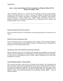 APPROVED 2003 - 2004 Annual Report of the Committee on Student... Sanjay Govindjee, Chair