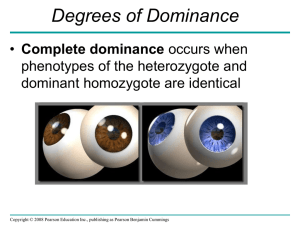Degrees of Dominance Complete dominance phenotypes of the heterozygote and