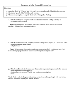 Language Arts On-Demand Homework 3 Directions: