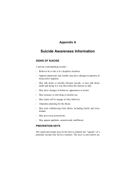 Suicide Awareness Information Appendix A SIGNS OF SUICIDE