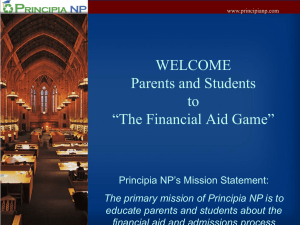 "WELCOME Parents and Students to ""The Financial Aid Game"""