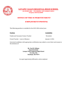LENAPE VALLEY REGIONAL HIGH SCHOOL  OFFICE OF THE SUPERINTENDENT EMPLOYMENT POSTING