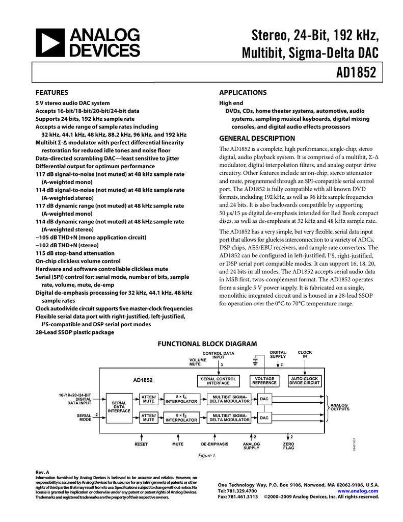 Stereo, 24-Bit, 192 kHz, Multibit, Sigma-Delta DAC AD1852