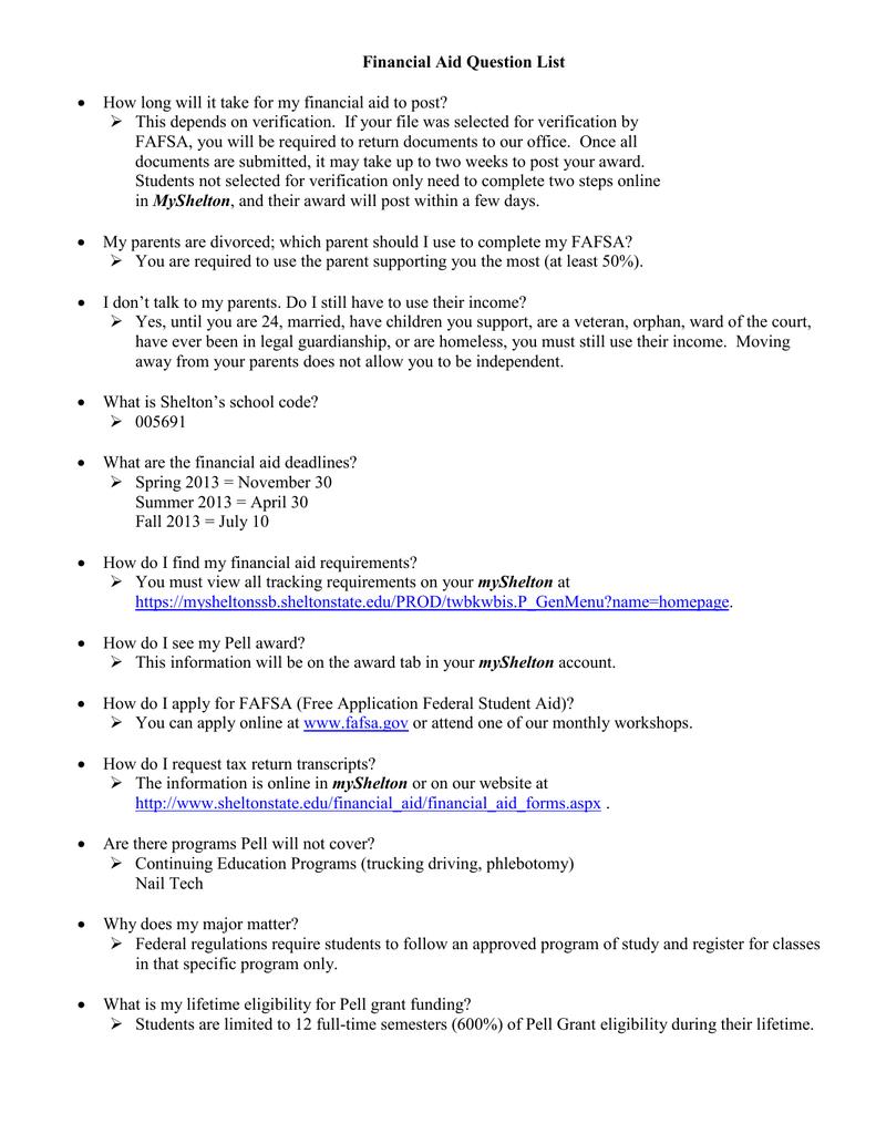 Financial Aid Question List