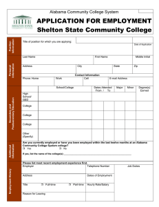 APPLICATION FOR EMPLOYMENT Shelton State Community College Alabama Community College System