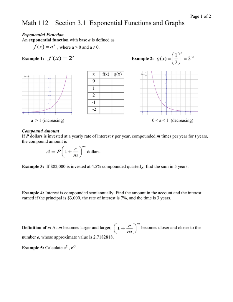 Math 112 Section 31 Exponential Functions
