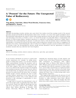 """A """"Present"""" for the Future: The Unexpected Value of Rediscovery Research Article 542274"""