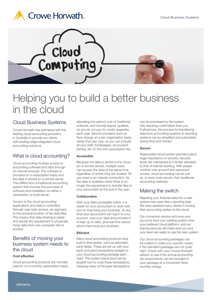 Helping you to build a better business in the cloud
