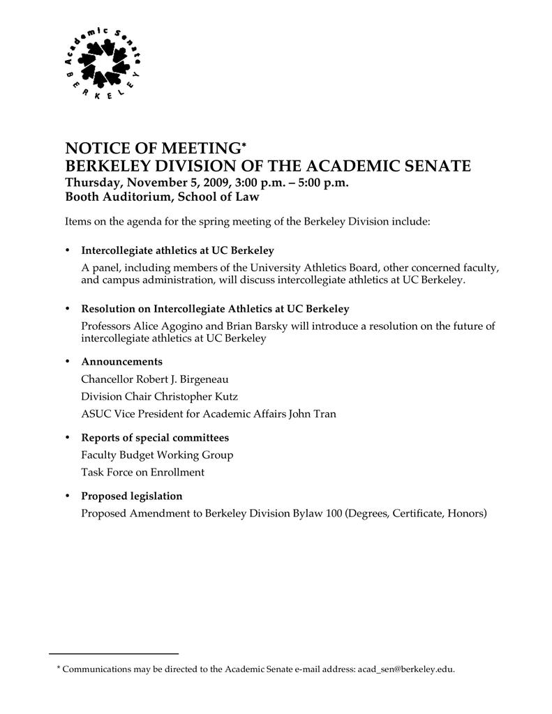Notice Of Meeting Berkeley Division Of The Academic Senate