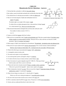 CHM 222 Biomolecules Review Questions - Answers