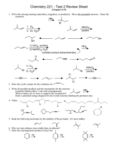 Chemistry 221 - Test 2 Review Sheet
