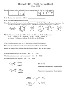 Chemistry 221 - Test 3 Review Sheet