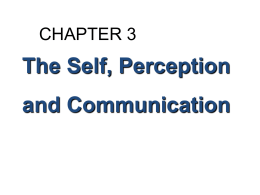 The Self, Perception and Communication CHAPTER 3