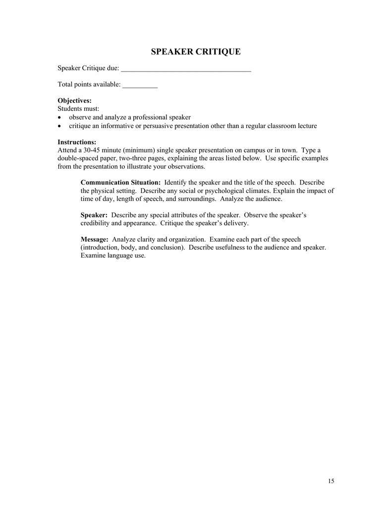 speech analysis assignment