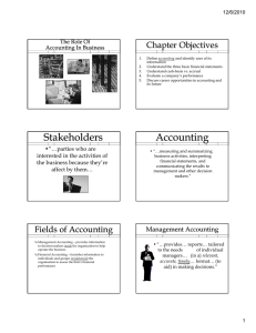 Chapter Objectives The Role Of Accounting In Business