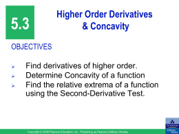 5.3 Higher Order Derivatives & Concavity