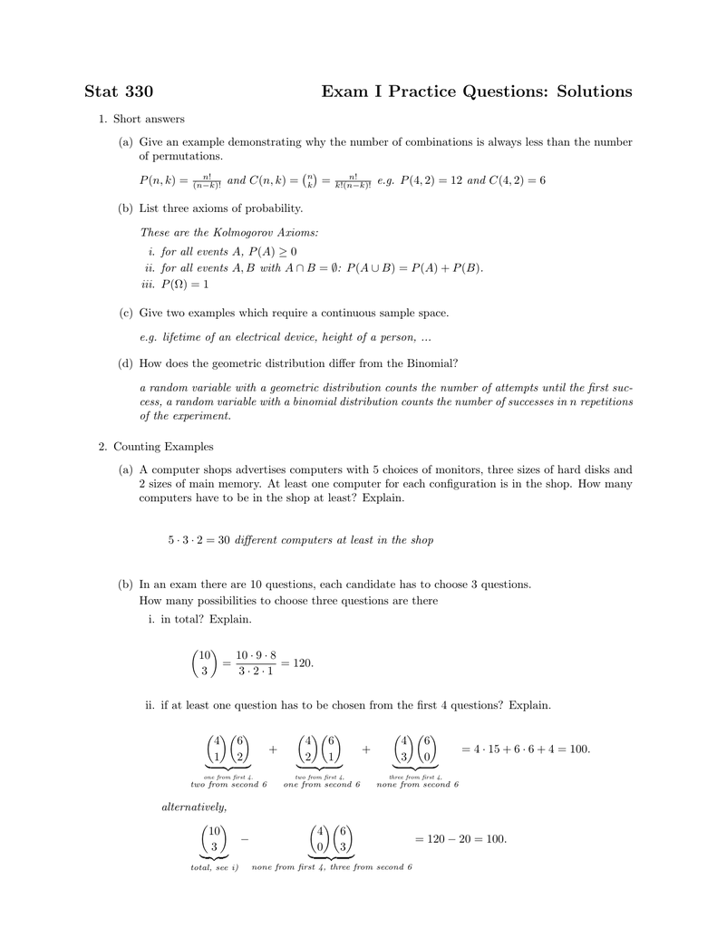 Stat 330 Exam I Practice Questions: Solutions
