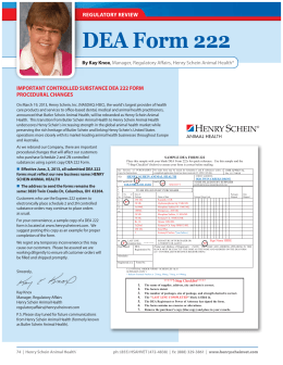 DEA Form 222 REGULATORY REVIEW R IMPORTANT CONTROLLED SUBSTANCE DEA 222 FORM